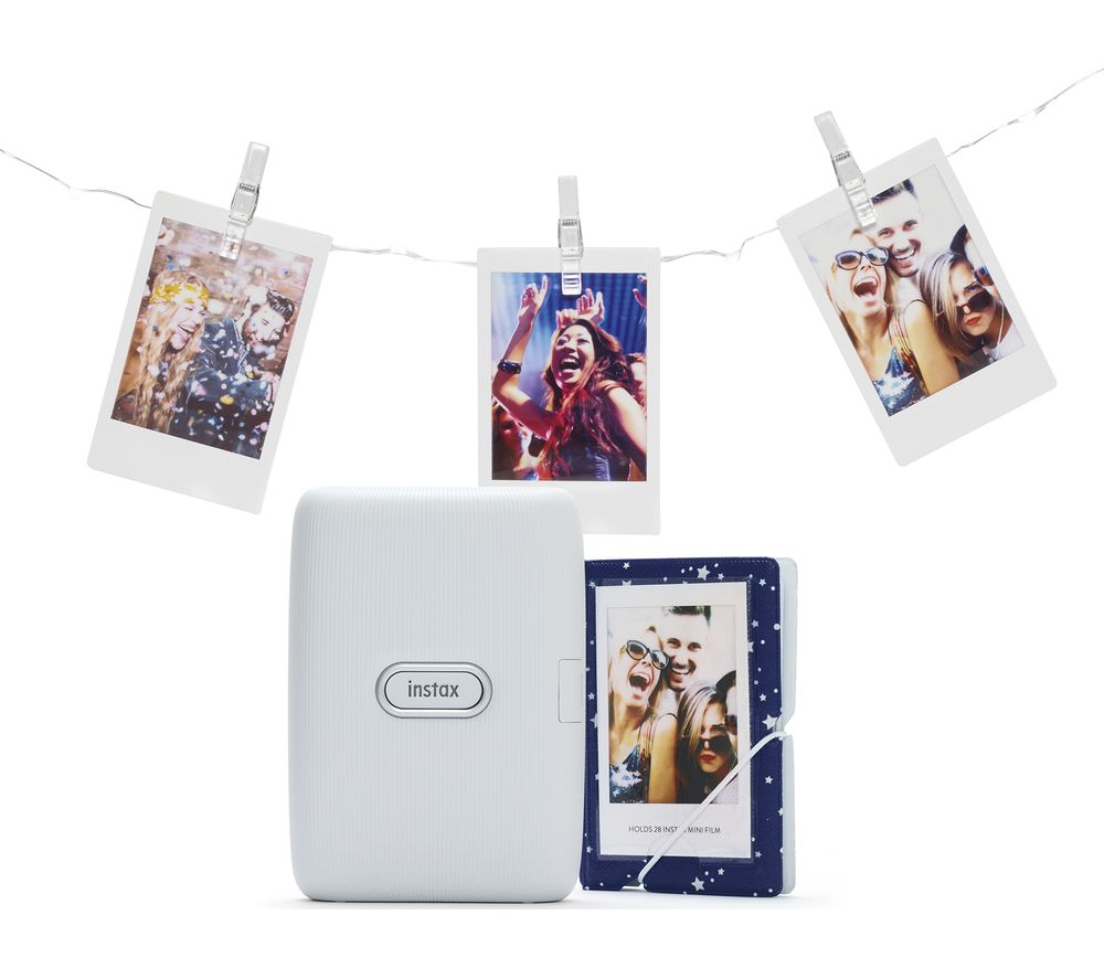 INSTAX mini Link Photo Printer with Album & LED Peg Lights Bundle - Ash White