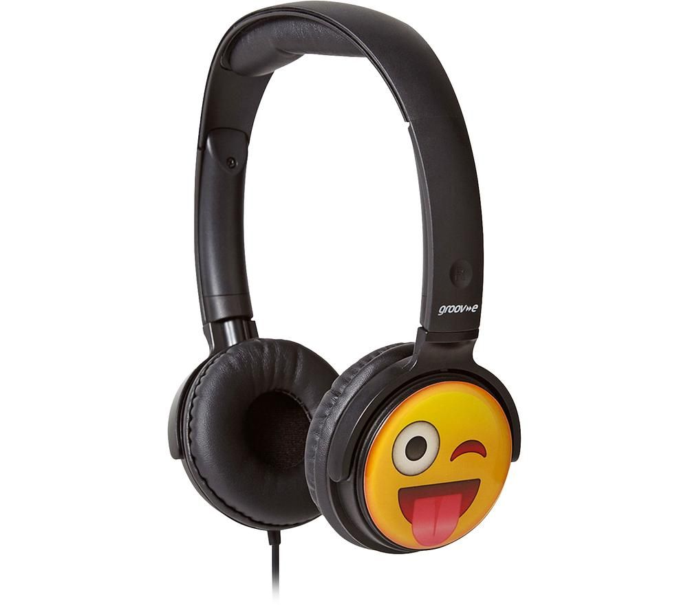 Image of GV-EMJ11 EarMOJI?s Cheeky Face Kids Headphones - Black, Black