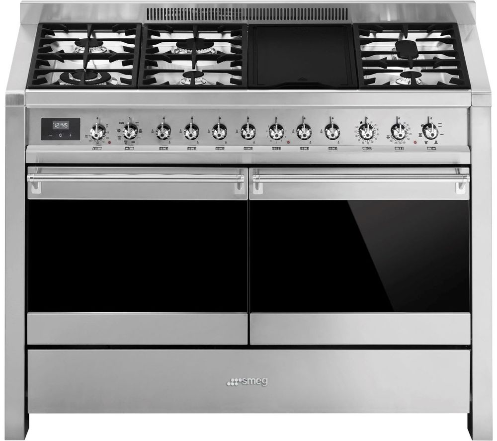 SMEG Opera A4-81 120 cm Dual Fuel Range Cooker - Stainless Steel