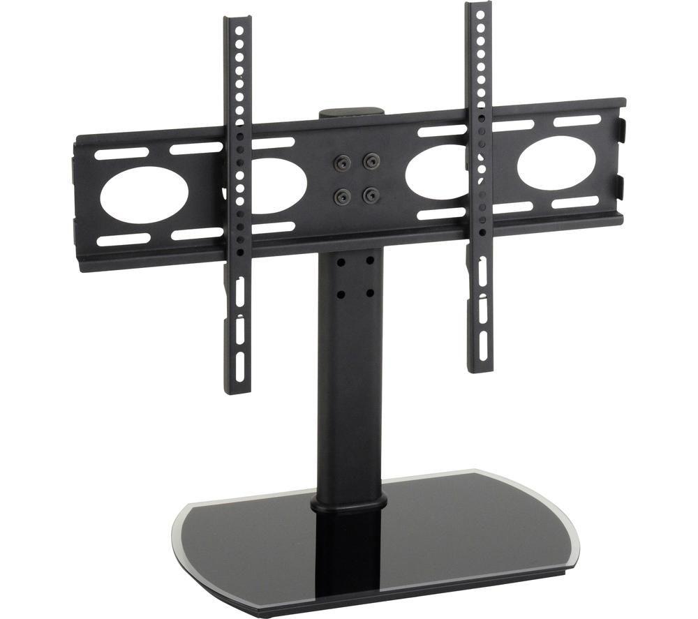 TTAP PED64F 470 mm TV Stand with Bracket - Black Glass, Black