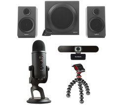 Yeti Professional USB Microphone, Gorillapod Starter Kit, Full HD Webcam & 2.1 PC Speakers Bundle