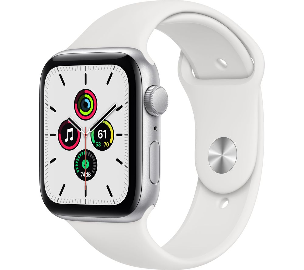 APPLE Watch SE - Silver Aluminium with White Sports Band, 44 mm