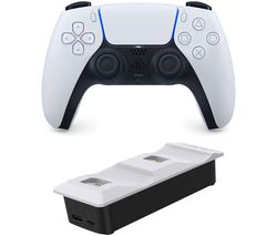 PS5 DualSense Wireless Controller & Venom Twin Docking Station Bundle - Black & White