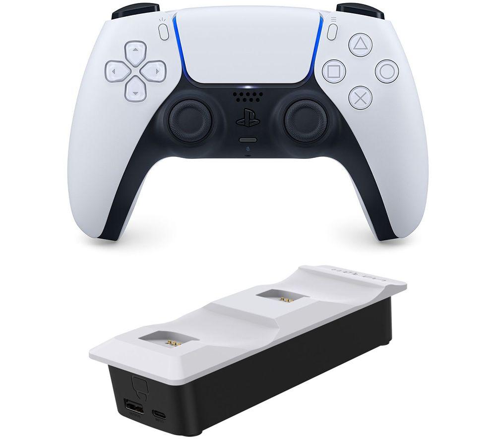 PLAYSTATION PS5 DualSense Wireless Controller & Venom Twin Docking Station Bundle - Black & White, B