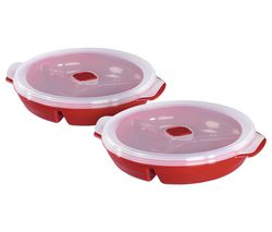 111464 Round Microwavable Plate Set – Red, Pack of 2