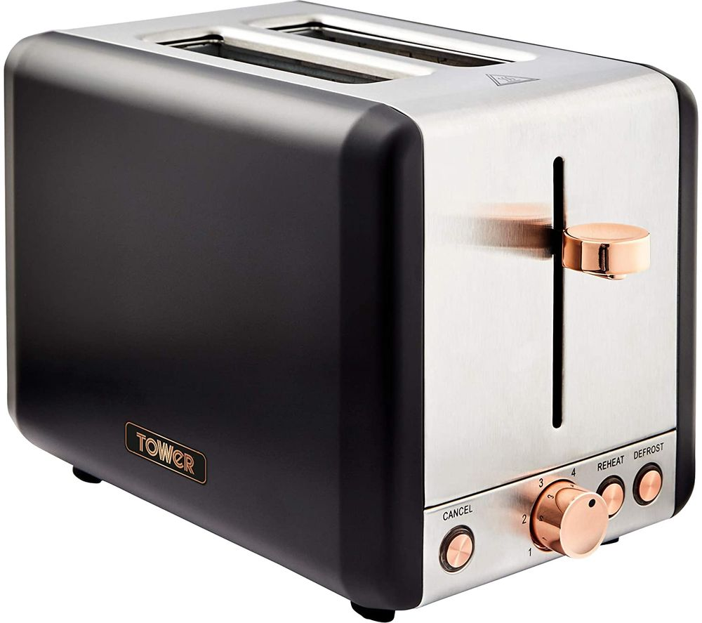 Image of TOWER Cavaletto T20036RG 2-Slice Toaster - Black & Rose Gold, Black