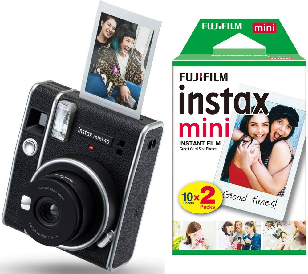 Instax Mini 40 Instant Camera 20 Shot Film Pack Bundle Black Black