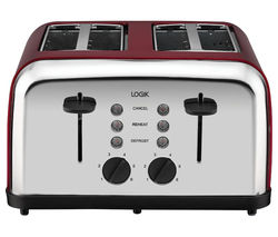 LOGIK L04TR14 4-Slice Toaster - Silver & Red Best Price, Cheapest Prices