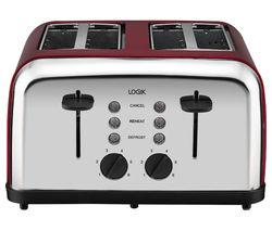 LOGIK L04TR14 4-Slice Toaster - Silver & Red