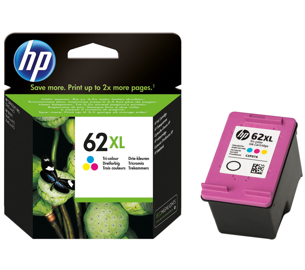 HP 62XL Tri-colour Ink Cartridge + 100 x 150 mm Photo Paper - 30 Sheets