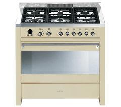 SMEG Opera 90 Dual Fuel Range Cooker - Cream & Stainless Steel