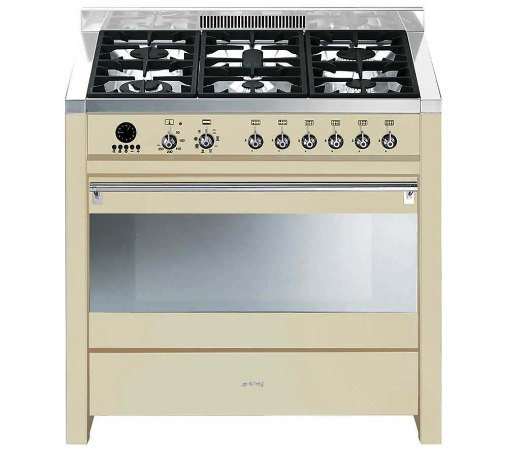 SMEG Opera 90 Dual Fuel Range Cooker - Cream & Stainless Steel