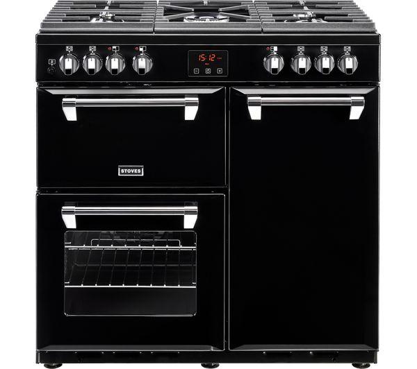 Image of STOVES Ellingwood 90DFT Dual Fuel Range Cooker - Black & Chrome