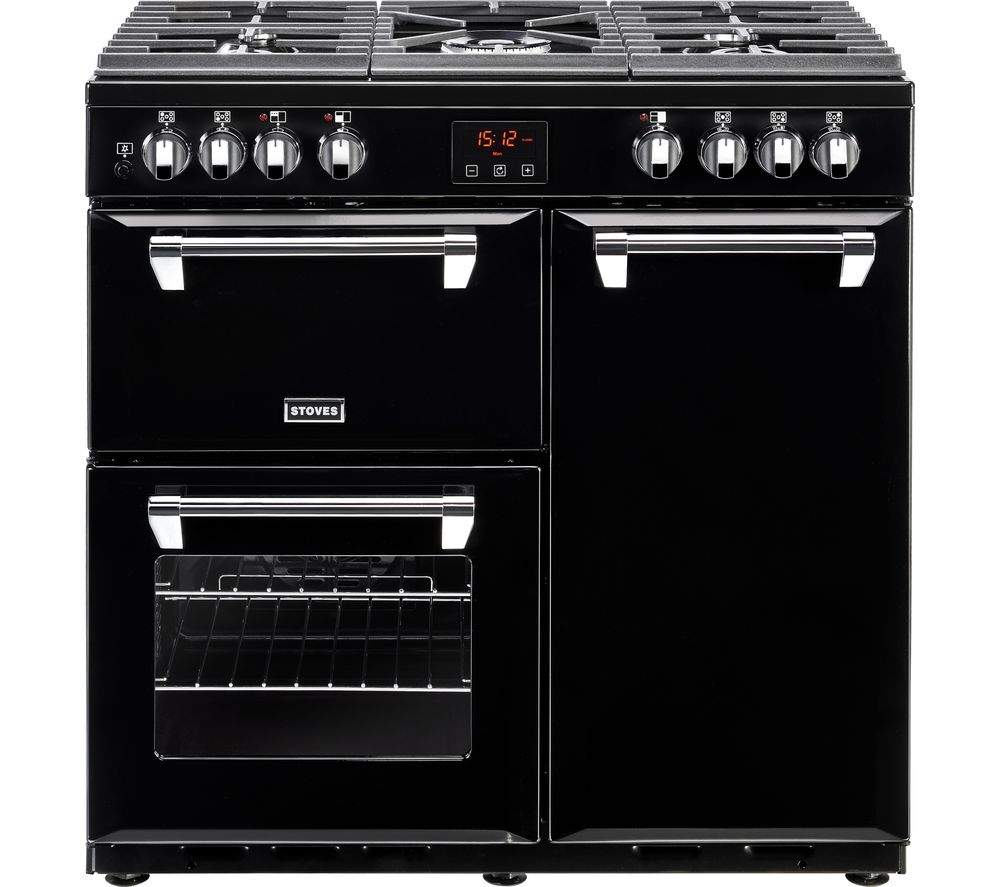 STOVES Ellingwood 90DFT Dual Fuel Range Cooker - Black & Chrome