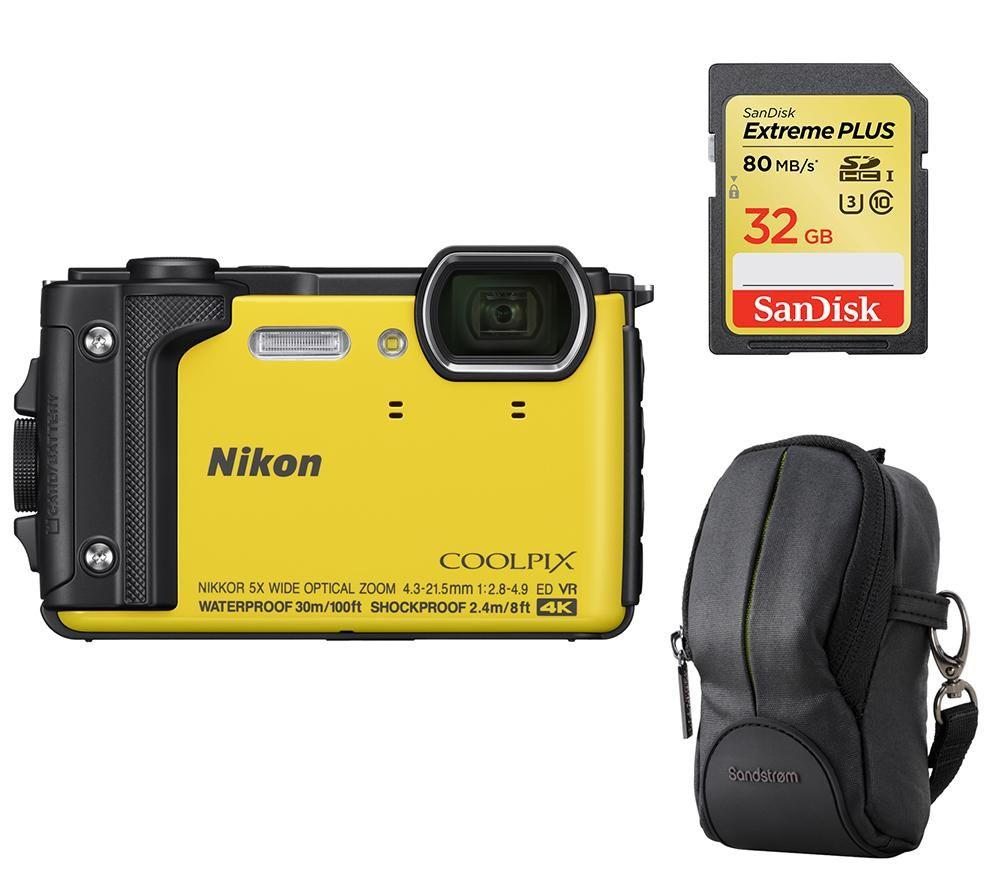NIKON COOLPIX W300 Tough Compact Camera, SWCOM13 Camera Case & 32 GB Memory  Card Bundle - Yellow