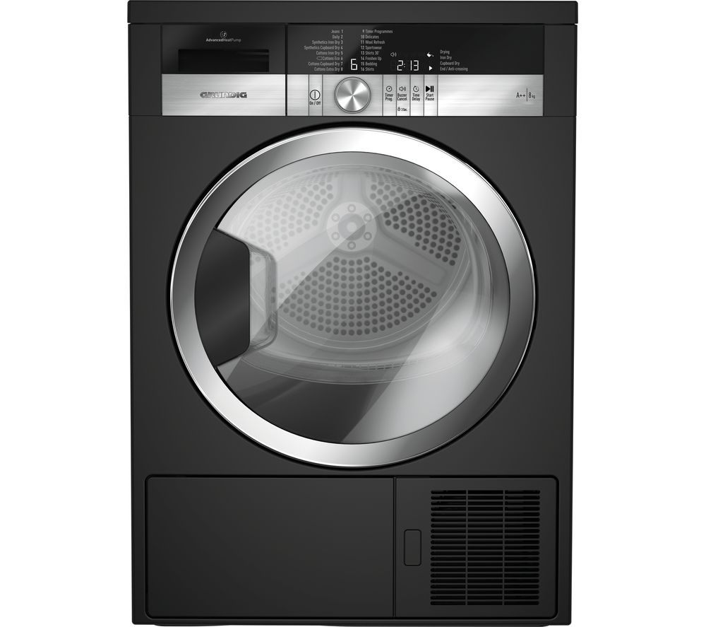 GRUNDIG GTN38250MGCB 8 kg Heat Pump Tumble Dryer - Black, Black
