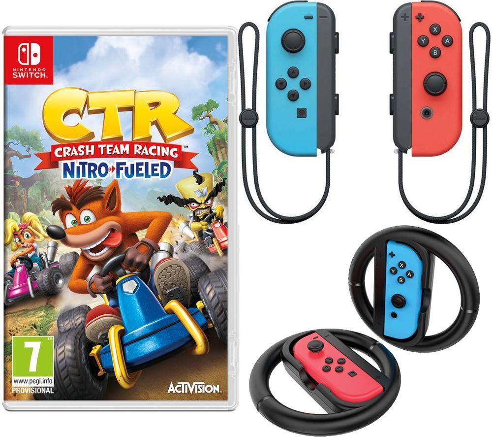 NINTENDO Switch Joy-Con Red & Blue Wireless Controllers, Joy-Con Racing Wheels & Crash Team Racing N