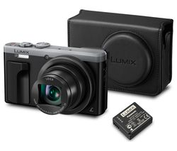 Lumix DMC-TZ80EB-S Superzoom Compact Camera, Case & Additional Battery Bundle - Silver