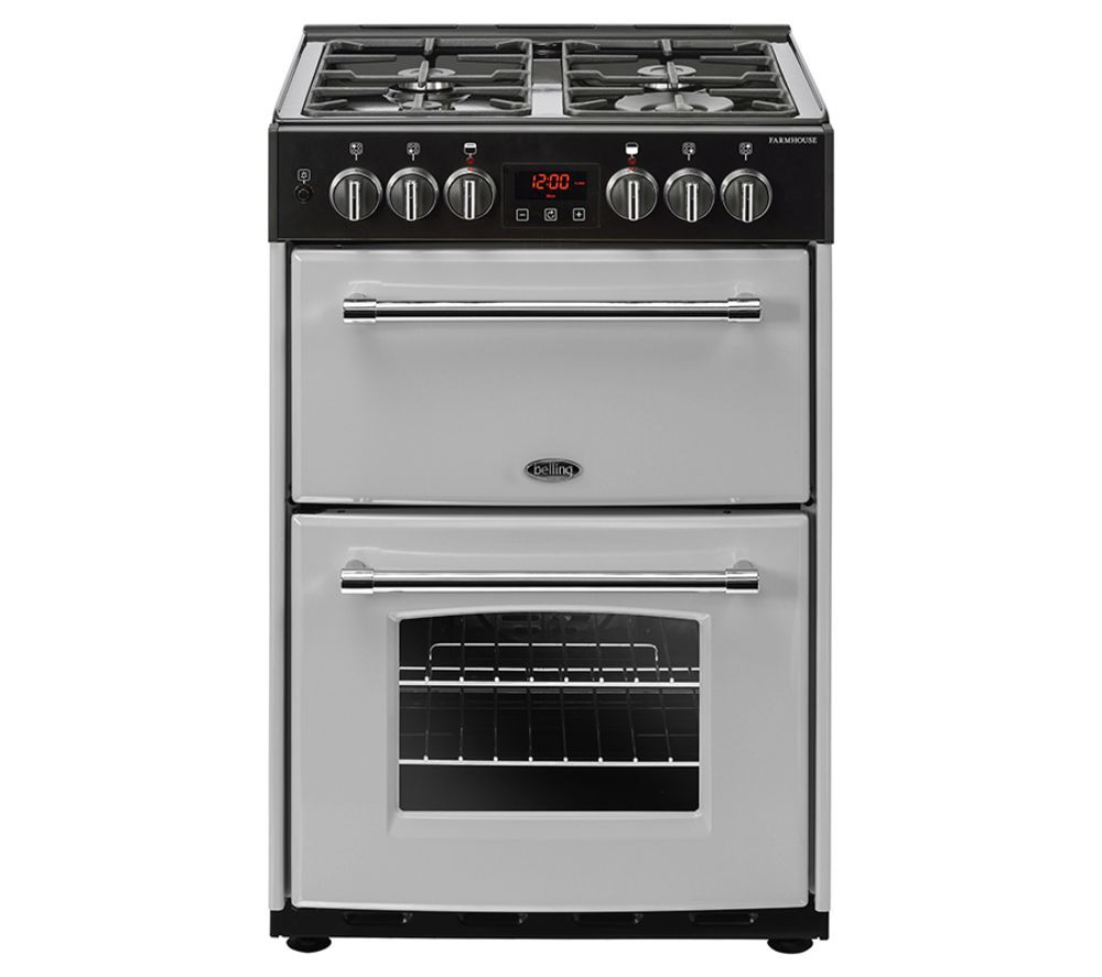 Image of BELLING Farmhouse 60DF Dual Fuel Cooker - Silver & Black, Silver