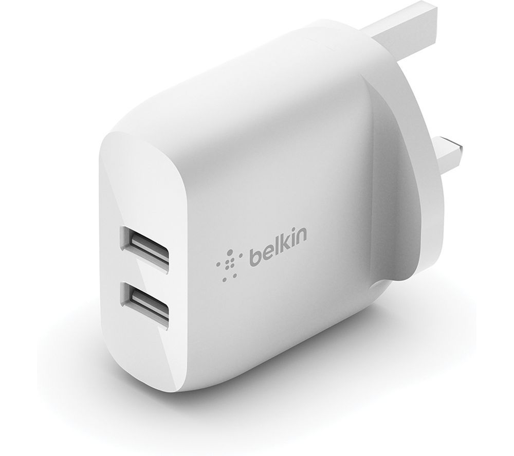 BELKIN Dual USB-A 24 W Mains Charger - White