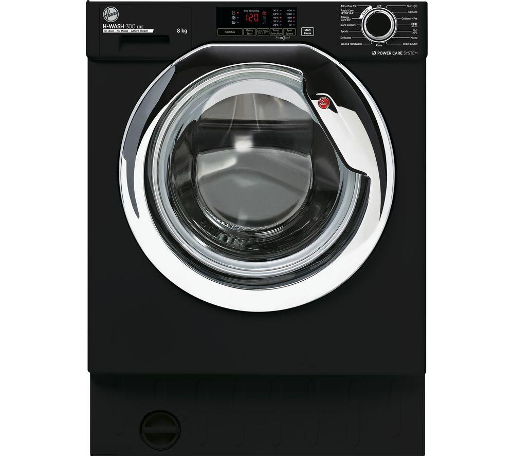 HOOVER H-Wash 300 HBWS48D1ACBE Integrated 8 kg 1400 Spin Washing Machine - Black, Black