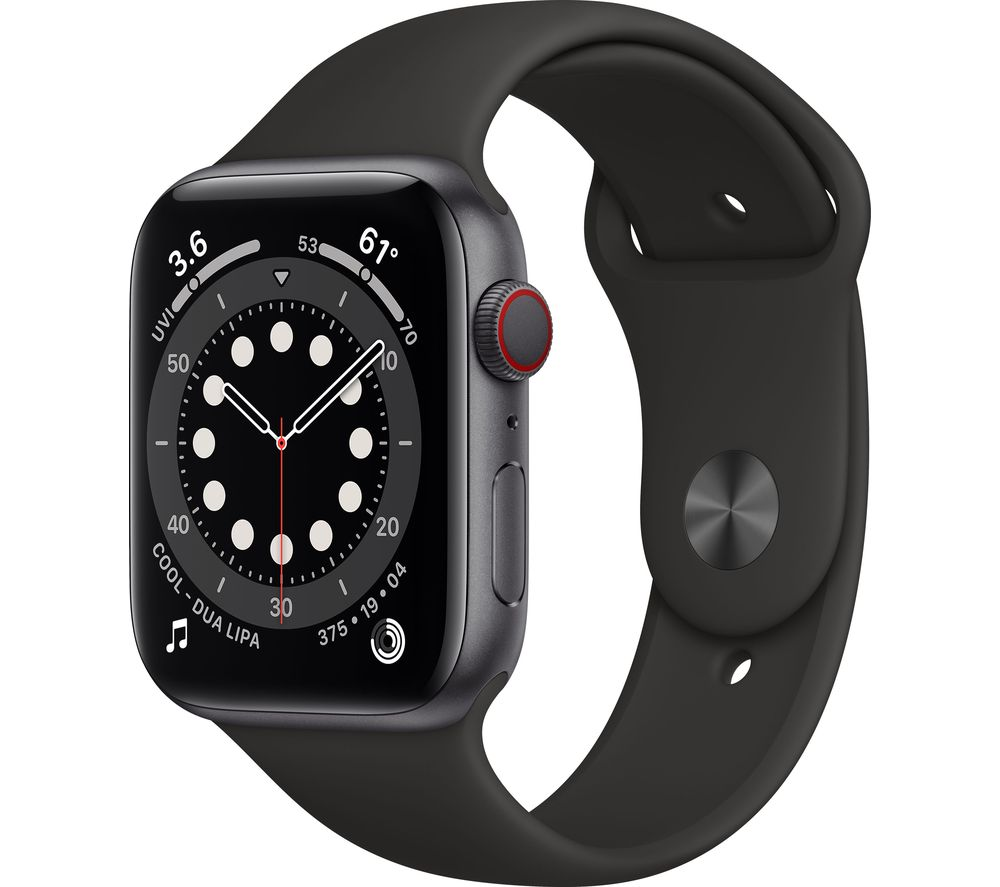 APPLE Watch Series 6 Cellular - Space Grey Aluminium with Black Sports Band, 40 mm