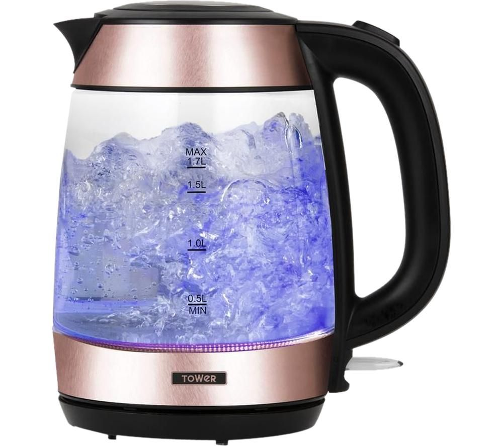 TOWER T10040RG Glass Jug Kettle - Rose Gold