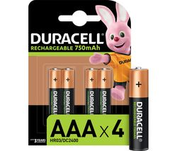 DURACELL HR03/DC2400 AAA NiMH Rechargeable Batteries - Pack of 4