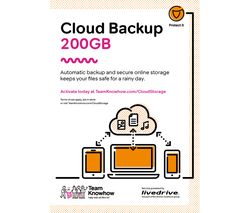 KNOWHOW Cloud Backup for Tablets & Mobiles - 200 GB, 1 year