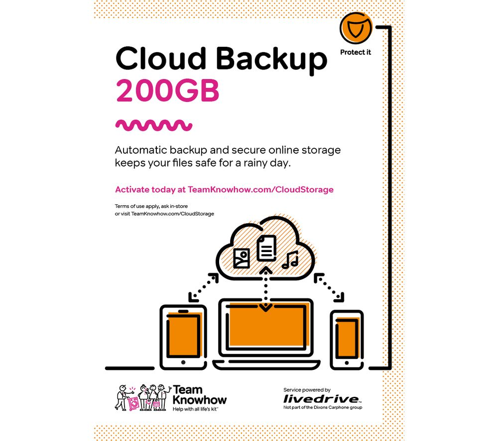 KNOWHOW Cloud Storage for Tablets & Mobiles - 200 GB, 1 year