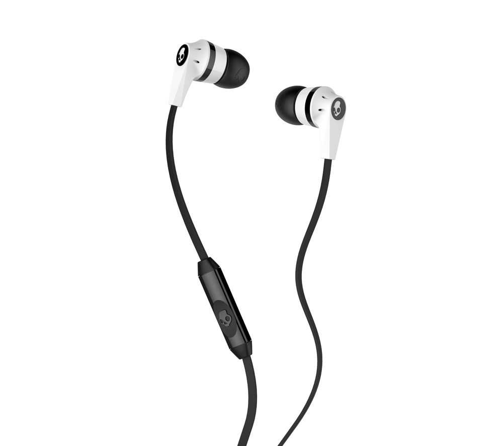SKULLCANDY Ink'd 2.0 S21KDY-074 Headphones - White & Black + iPhone 7 Lightning to 3.5 mm Headphone Jack Adapter