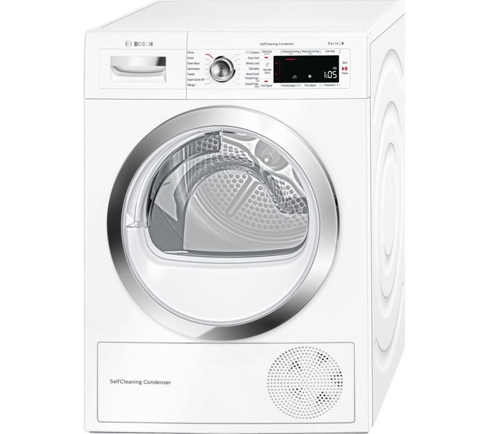 Image of BOSCH WTWH7560GB Heat Pump Smart Tumble Dryer - White, White