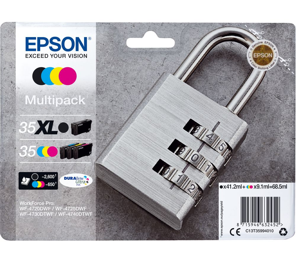 EPSON Padlock 35 Cyan, Magenta, Yellow & Black Ink Cartridges - Multipack