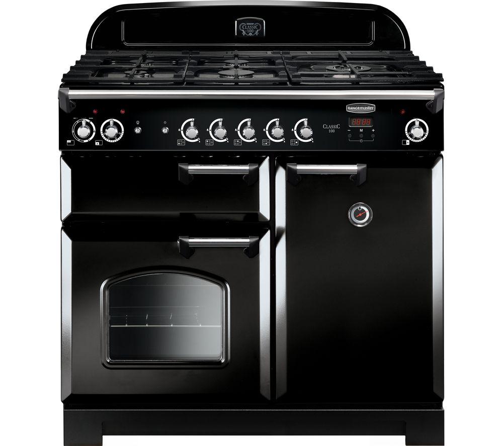 RANGEMASTER Classic CLA100DFFBL/C Dual Fuel Range Cooker - Black & Chrome