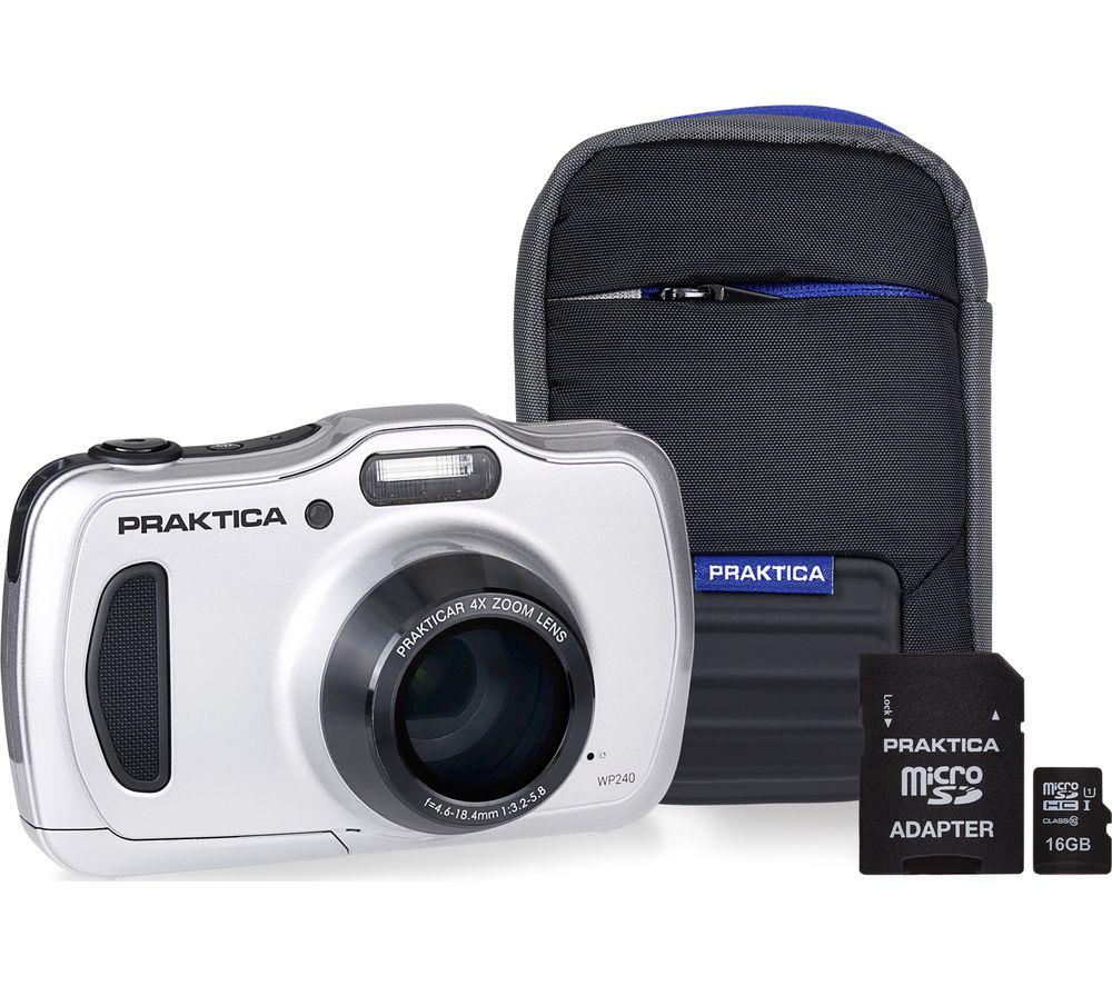 PRAKTICA Luxmedia WP240-S Compact Camera, Case & 16 GB Memory Card Bundle - Silver
