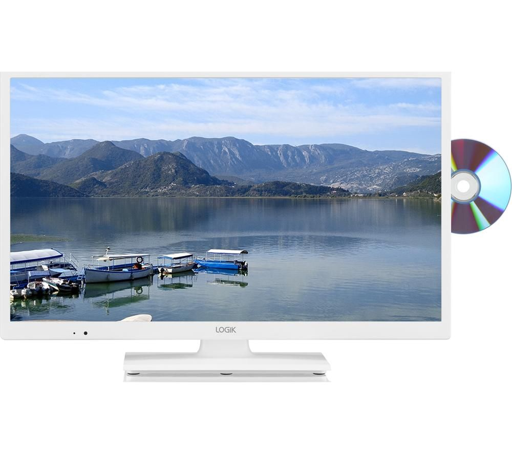 "24""  LOGIK L24HEDW18 LED TV with Built-in DVD Player - White, White"