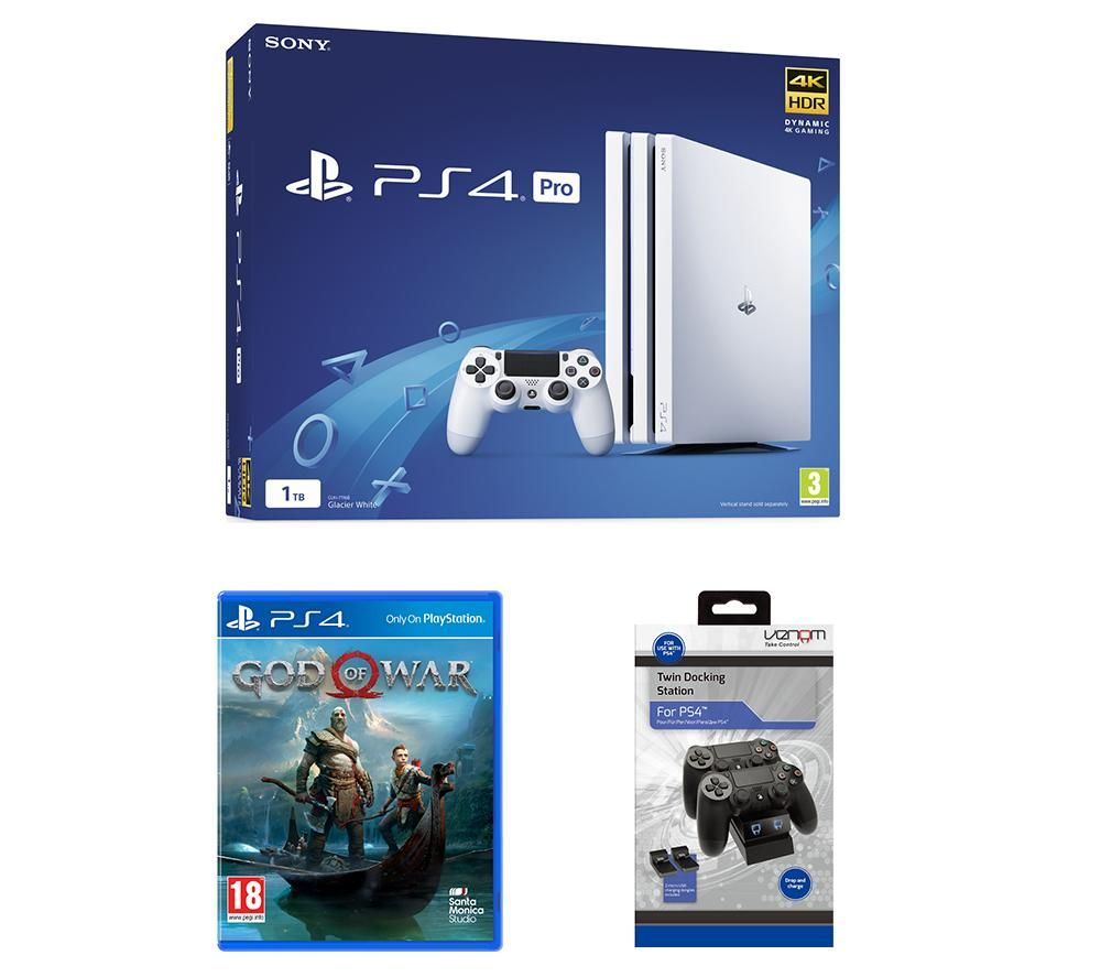 PlayStation 4 Pro, God Of War & Twin Docking Station Bundle, Red