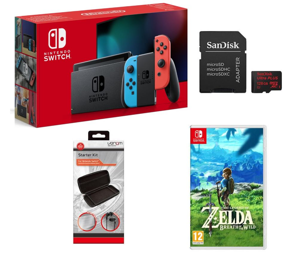buy nintendo switch neon red the legend of zelda breath of the wild 128 gb memory card. Black Bedroom Furniture Sets. Home Design Ideas