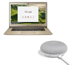GOOGLE 14 CB3-431 Chromebook & Home Mini Bundle - Gold