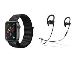 APPLE Watch Series 4 & Powerbeats3 Wireless Bluetooth Headphones Bundle - Space Grey & Black Sports Loop, 40 mm