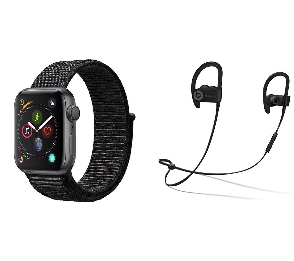 APPLE Watch Series 4 & Powerbeats3 Wireless Bluetooth Headphones Bundle - Space Grey & Black Sports Loop, 40 mm, Grey cheapest retail price