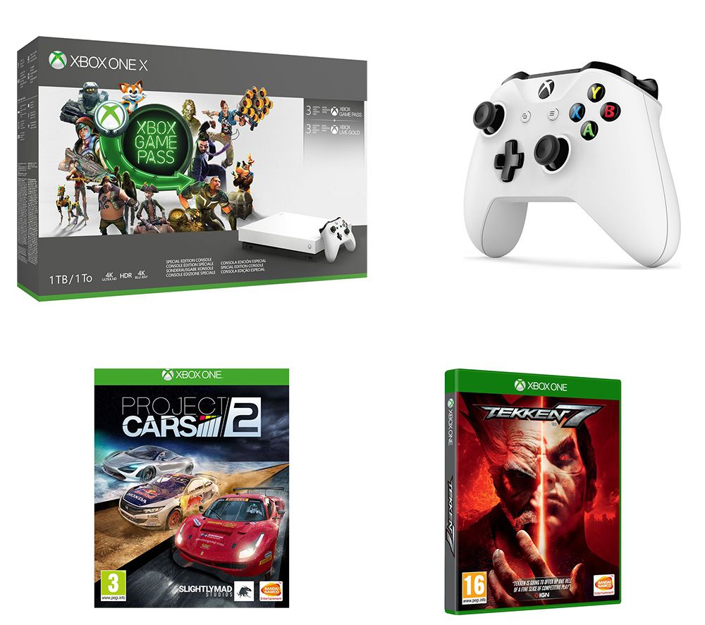 MICROSOFT Xbox One X, Project Cars 2, Tekken 7, Wireless Controller, 3 Month Game Pass & 3 Month LIVE Gold Bundle