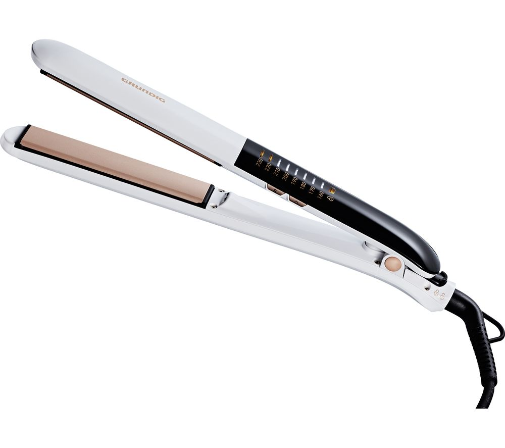 GRUNDIG Touch Control HS7831 Hair Straightener - White & Rose Gold