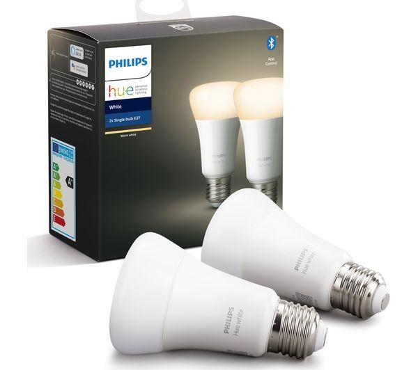 Image of PHILIPS HUE White Bluetooth LED Bulb - E27, Twin Pack