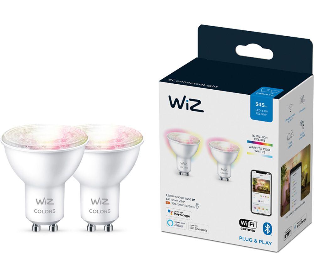 WIZ CONNECTED Full Colour Smart Spotlight Bulb - GU10, Twin Pack