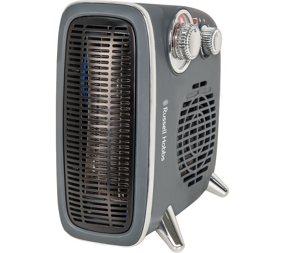 Russell Hobbs RHRETHFH1001G 1.8kW Grey Retro Horizontal/Vertical Fan Heater with Adjustable Thermostat, 20m2 Room Size, Dial Control and 2 Year Guarantee