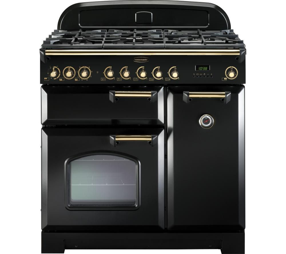 buy rangemaster classic deluxe 90 dual fuel range cooker black brass free delivery currys. Black Bedroom Furniture Sets. Home Design Ideas