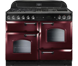 RANGEMASTER Classic 110 Dual Fuel Range Cooker - Cranberry & Chrome
