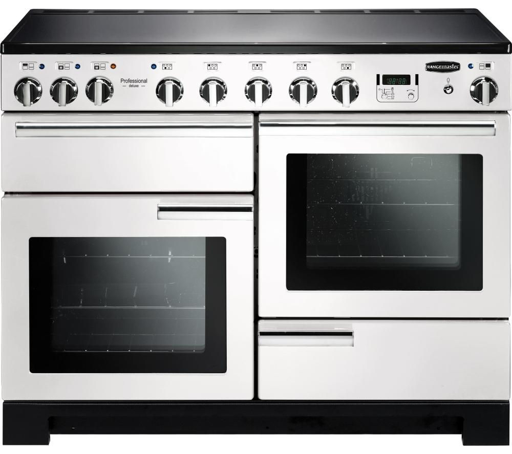 RANGEMASTER Professional Deluxe 110 Induction Range Cooker - White & Chrome