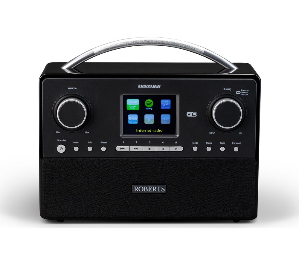 roberts stream93i dab clock radio black deals pc world. Black Bedroom Furniture Sets. Home Design Ideas